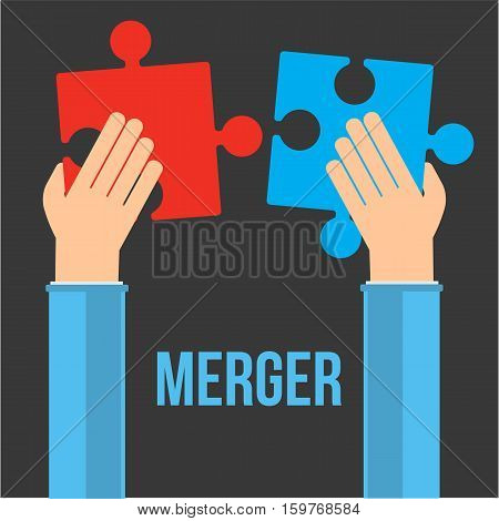 Merger concept. Two businessmans hand trying to connect red and blue puzzles. Vector illustration on black background.