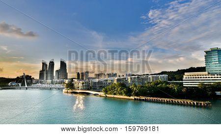 Singapore Port Skyline Design building bridge sentosa