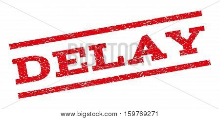 Delay watermark stamp. Text caption between parallel lines with grunge design style. Rubber seal stamp with scratched texture. Vector red color ink imprint on a white background.