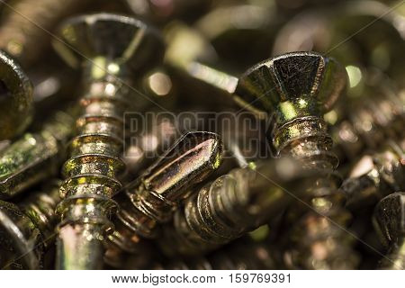 Golden Screws Macro Close Up. Background Pattern.