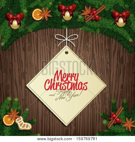 Merry Christmas and Happy New Year greeting card vector illustration. Xmas congratulation label with christmas tree and holiday decorations, orange, cinnamon stick, star anise on wooden background