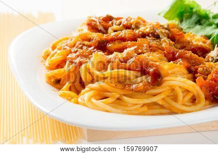 Italian Cooked Spaghetti With Bolognese And Parmesan