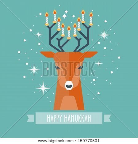Hanukkah Holiday Design With Deer And Menorah