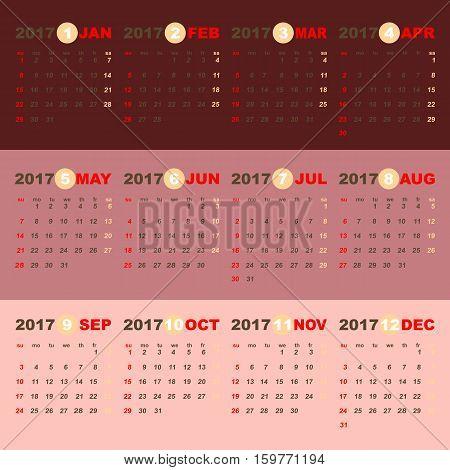 2017 calendar on beauty pink gold template stock vector