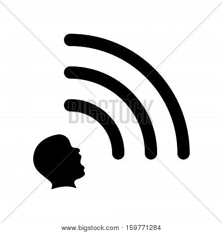 Head emits a wi-fi signal extrasensory concept icon 2d vector icon isolated on white background eps 8