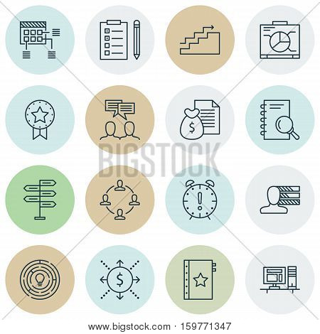 Set Of 16 Project Management Icons. Can Be Used For Web, Mobile, UI And Infographic Design. Includes Elements Such As Team, Brainstorming, Office And More.