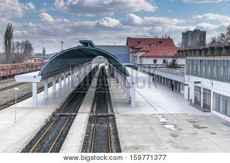 MARCH 2015 - CHISINAU, MOLDOVA: Passenger platform at Chisinau Railway Station in Chisinau, Moldova March 2017