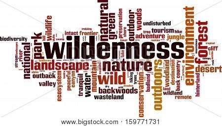 Wilderness word cloud concept. Vector illustration on white