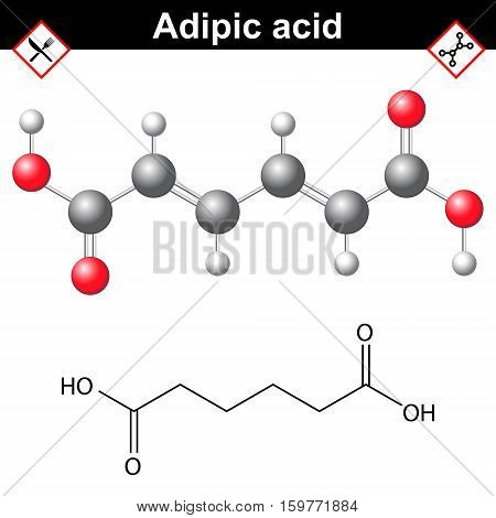 Adipic acid chemical formula organic compound for nylon production and food additeve E355 2d and 3d vector illustration on white background eps 10