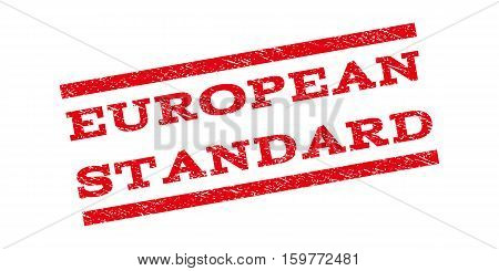 European Standard watermark stamp. Text tag between parallel lines with grunge design style. Rubber seal stamp with scratched texture. Vector red color ink imprint on a white background.