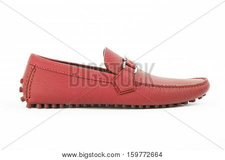 Red Leather Shoe Isolated On White Background