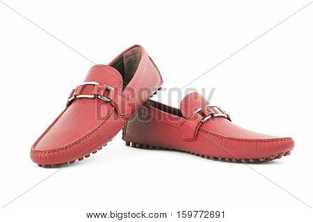 Red Leather Loafers Pair Isolated On White Background