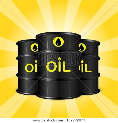 Realistic oil barrels on sunray background commercial oil storage concept black yellow and orange colors 3d vector realistic illustration eps 10