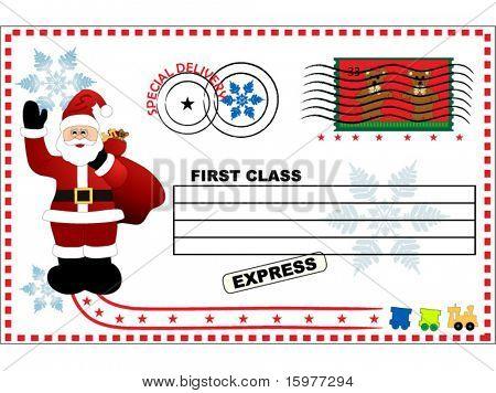 santa on postcard layered for easy editing