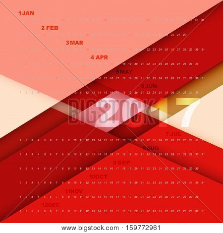 Design material background with 2017 calendar stock vector