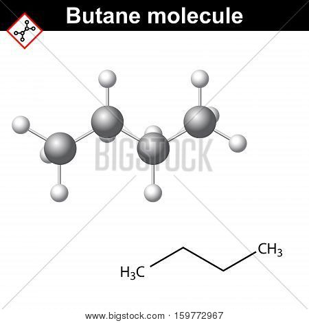 Butane chemical gas compound chemical formula and molecular structure 2d and 3d vector illustration isolated on white background eps 10