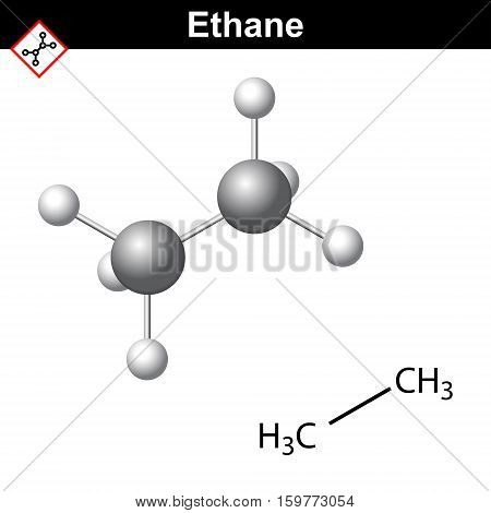Ethane chemical natural gas component chemical and molecular structures hydrocarbon class 2d and 3d vector illustration isolated on white background eps 10