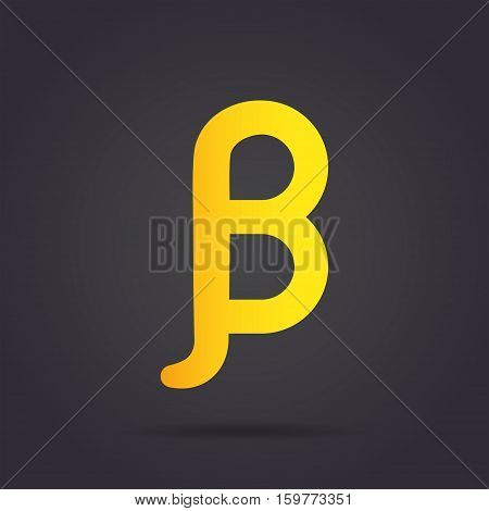 Beta letter icon greek alphabet sign 2d vector illustration on dark background eps 10