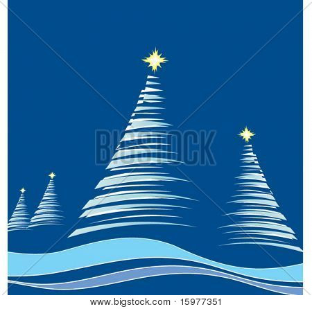 christtmas trees in blue