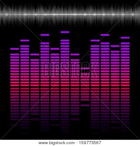 Eq bar equalizer colorful scale with reflection sound and music concept 2d vector illustration on dark background eps 10