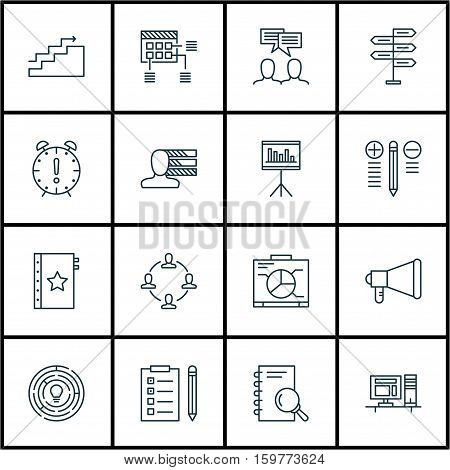 Set Of 16 Project Management Icons. Can Be Used For Web, Mobile, UI And Infographic Design. Includes Elements Such As List, Time, Project And More.