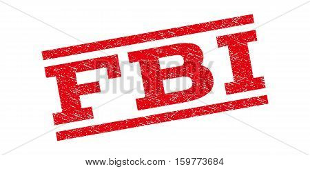 FBI watermark stamp. Text tag between parallel lines with grunge design style. Rubber seal stamp with scratched texture. Vector red color ink imprint on a white background.