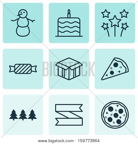 Set Of 9 New Year Icons. Can Be Used For Web, Mobile, UI And Infographic Design. Includes Elements Such As Banner, Meal, Tree And More.