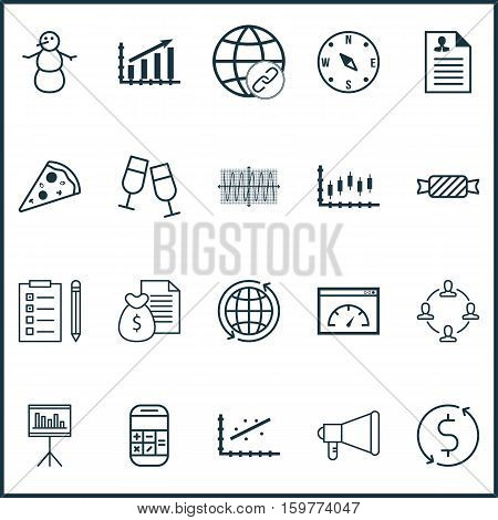 Set Of 20 Universal Editable Icons. Can Be Used For Web, Mobile And App Design. Includes Elements Such As Stock Market, Profit Graph, Sinus Graph And More.