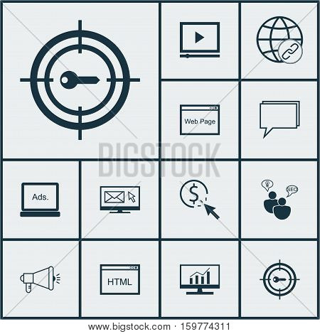 Set Of 12 SEO Icons. Can Be Used For Web, Mobile, UI And Infographic Design. Includes Elements Such As SEO, Advertising, Email And More.