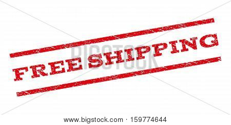 Free Shipping watermark stamp. Text tag between parallel lines with grunge design style. Rubber seal stamp with unclean texture. Vector red color ink imprint on a white background.