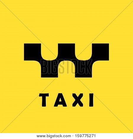 Taxi logo concept on yellow background 2d vector logo illustration eps 10