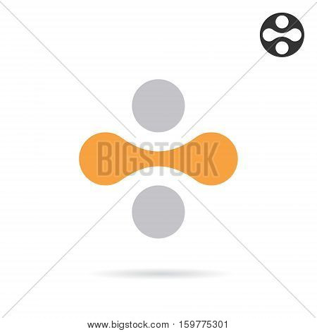 Division sign consisting of four dots and one link 2d vector icon illustration isolated on white background eps 10