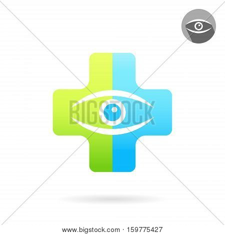 Human eye on medical multicolored plate treatment of eye diseases concept 2d vector icon illustration isolated on white background eps 10