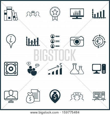 Set Of 20 Universal Editable Icons. Can Be Used For Web, Mobile And App Design. Includes Elements Such As Computer, Dynamics, Cooperation And More.
