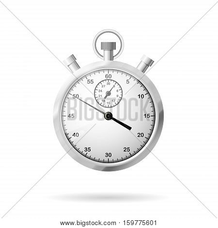 Metallic stopwatch close-up front view of stopwatch time concept 3d vector illustration realistic object isolated on white background eps 10