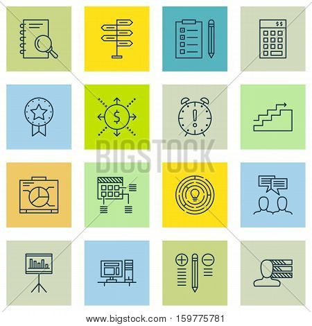 Set Of 16 Project Management Icons. Can Be Used For Web, Mobile, UI And Infographic Design. Includes Elements Such As Schedule, Award, Goal And More.