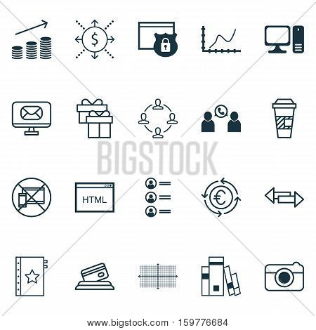 Set Of 20 Universal Editable Icons. Can Be Used For Web, Mobile And App Design. Includes Elements Such As Currency Recycle, Crossroad, Job Applicants And More.