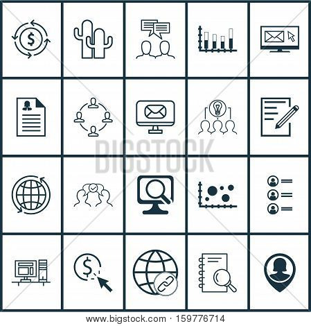 Set Of 20 Universal Editable Icons. Can Be Used For Web, Mobile And App Design. Includes Elements Such As Female Application, Discussion, Cooperation And More.