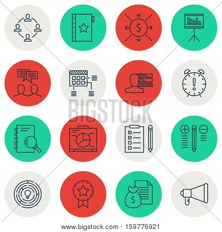 Set Of 16 Project Management Icons. Can Be Used For Web, Mobile, UI And Infographic Design. Includes Elements Such As Advertising, Revenue, List And More.