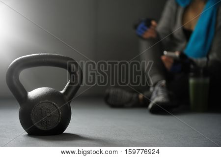 Close Up Of Kettlebell Weights On Floor Gym. Fitness And A Healthy Lifestyle.