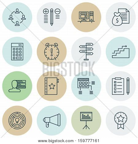 Set Of 16 Project Management Icons. Can Be Used For Web, Mobile, UI And Infographic Design. Includes Elements Such As List, Promotion, Advertising And More.
