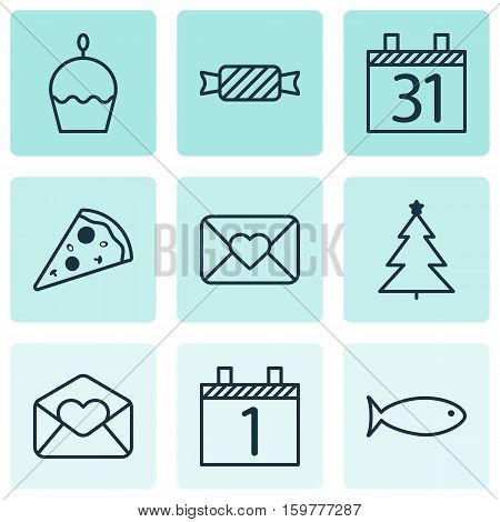 Set Of 9 New Year Icons. Can Be Used For Web, Mobile, UI And Infographic Design. Includes Elements Such As Envelope, Email, Schedule And More.