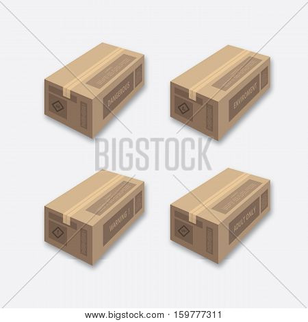 isolated cardboard mockup template set for any stock industries