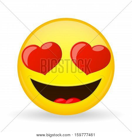 Emoji in love. Emotion of happiness. Amorously smiling emoticon. Cartoon style. Vector illustration smile icon.
