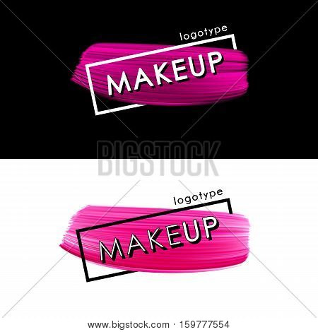Makeup pink smear logo template isolated on dark and white background. Paint brush vector shape acrylic smear.