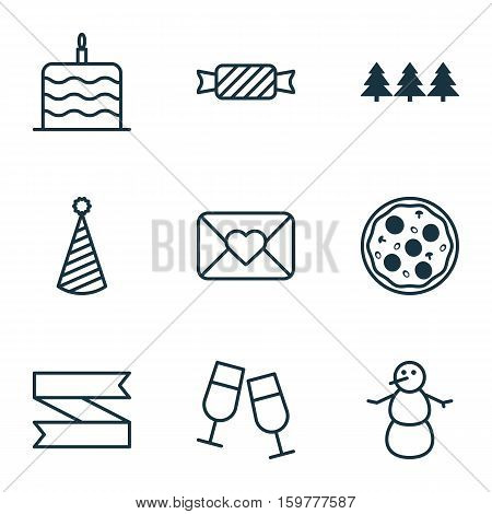 Set Of 9 Celebration Icons. Can Be Used For Web, Mobile, UI And Infographic Design. Includes Elements Such As Cake, Tree, Blank And More.