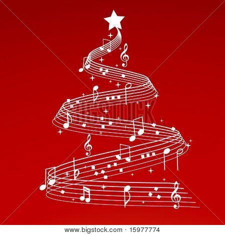 christmas tree with musical notes