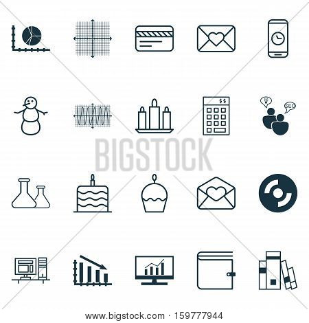 Set Of 20 Universal Editable Icons. Can Be Used For Web, Mobile And App Design. Includes Elements Such As Circle Graph, Blank Cd, Wallet And More.