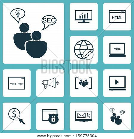 Set Of 12 Marketing Icons. Can Be Used For Web, Mobile, UI And Infographic Design. Includes Elements Such As Website, Link, Per And More.