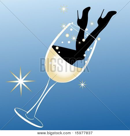 party time legs and heels coming out of wine glass
